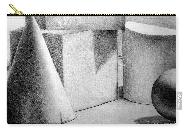 Drawing Carry-all Pouch featuring the drawing Still Life With Shapes by Nancy Mueller