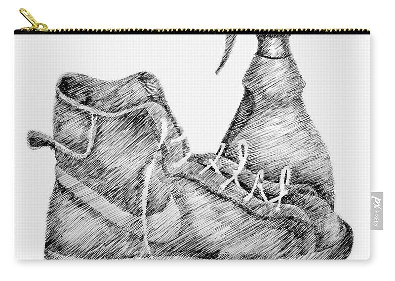 Pen Carry-all Pouch featuring the drawing Still Life With Shoe And Spray Bottle by Michelle Calkins