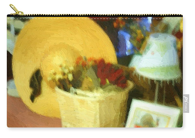 Basket Carry-all Pouch featuring the digital art Still Life With Straw Hat by RC DeWinter