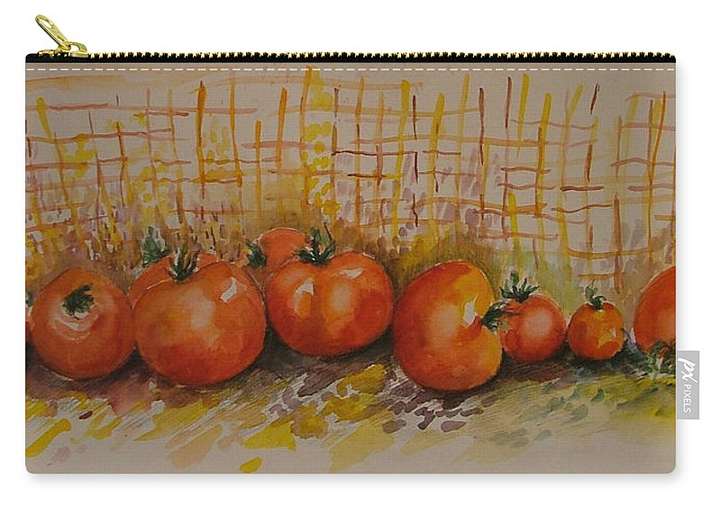 Tomatoes Carry-all Pouch featuring the painting Still Life With Tomatoes by Rita Fetisov