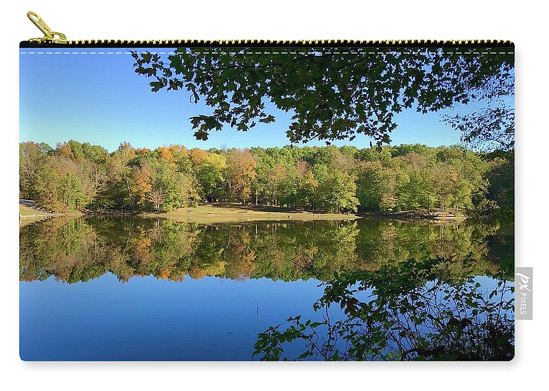 Still Quiet Morning Lake Reflection Reflecting Water Fall Color Leaves Park Indiana Brown County State Park Ogle Lake Carry-all Pouch featuring the photograph Still Morning by Russell Keating