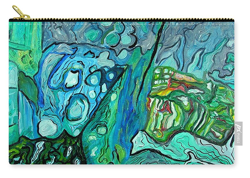 Stingrays Carry-all Pouch featuring the painting Stingrays Departing by Heather Lennox