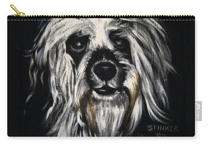 Dog Carry-all Pouch featuring the painting Stinker by Sherry Oliver