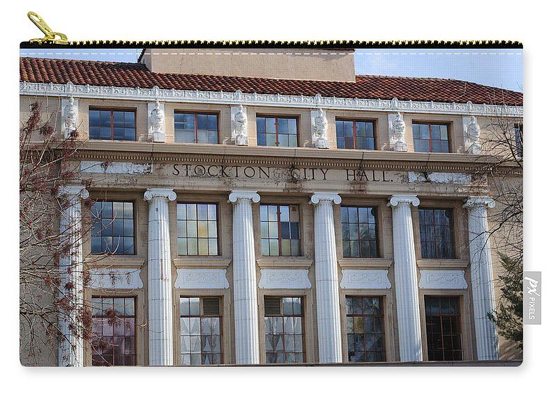 Stockton City Hall Carry-all Pouch featuring the photograph Stockton City Hall by Tikvah's Hope