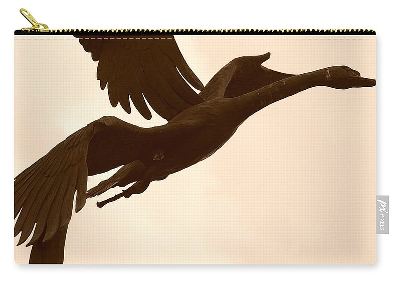 Sepia Carry-all Pouch featuring the photograph Stone Birds by Rob Hans