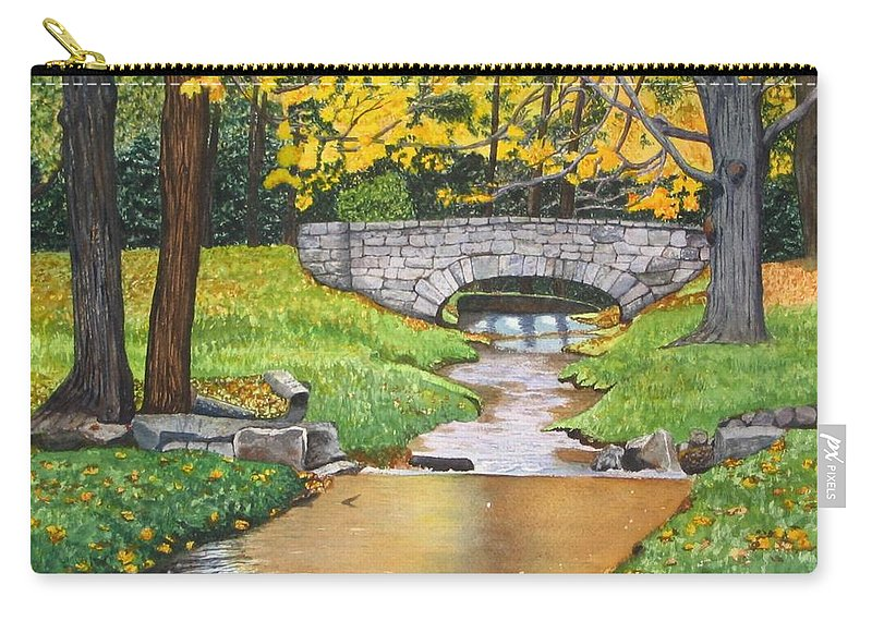 Landscape Carry-all Pouch featuring the painting Stone Bridge by Sharon Farber