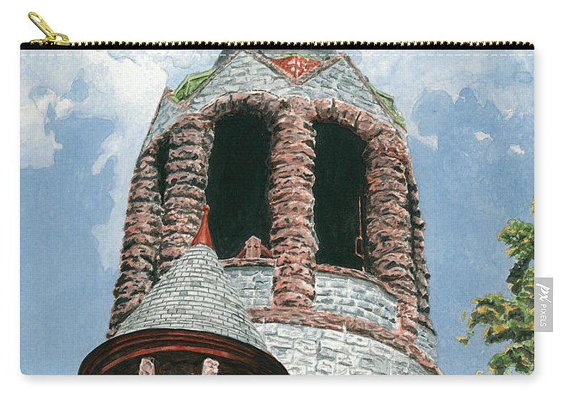 Church Carry-all Pouch featuring the painting Stone Church Bell Tower by Dominic White