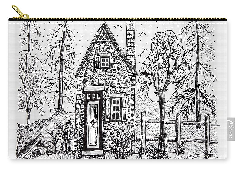 Pen And Ink Carry-all Pouch featuring the drawing Stone Cottage by Karla Gerard
