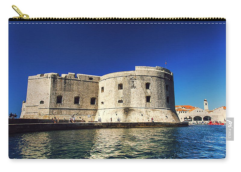 Adriatic Carry-all Pouch featuring the photograph Stone Fortress In Dubrvnik King's Landing by Sandra Rugina