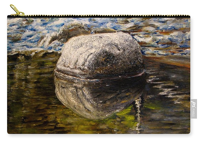 Original Painting Carry-all Pouch featuring the painting Stone landscape original oil painting by Natalja Picugina