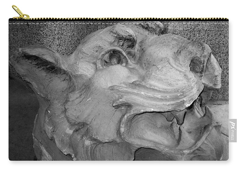 Sculpture Carry-all Pouch featuring the photograph Stone Lion by Anita Burgermeister