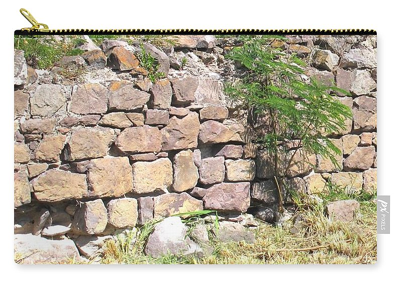 Stone Wall Carry-all Pouch featuring the photograph Stone Wall by Ian MacDonald