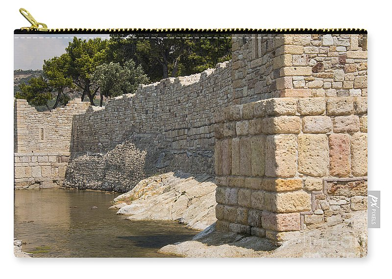 Foca Turkey City Wall Cities Walls Stone Stones Water Rock Rocks City Cities Cityscape Cityscapes Structure Structures Architecture Ruin Ruins Carry-all Pouch featuring the photograph Stone Wall In Foca by Bob Phillips