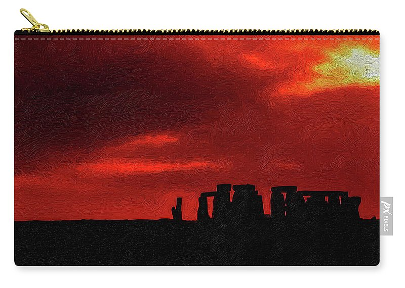 Stonehenge Carry-all Pouch featuring the photograph Stonehenge Impasto by Steve Harrington