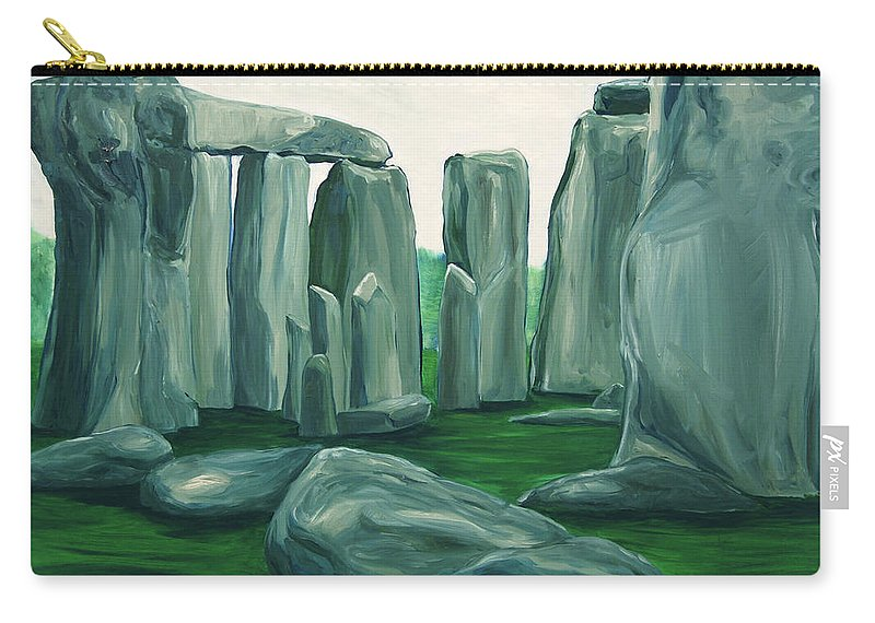 Stonehenge Carry-all Pouch featuring the painting Stonehenge In Spring by Jennifer Christenson
