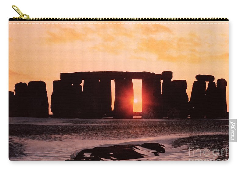 Stonehenge Carry-all Pouch featuring the painting Stonehenge Winter Solstice by English School