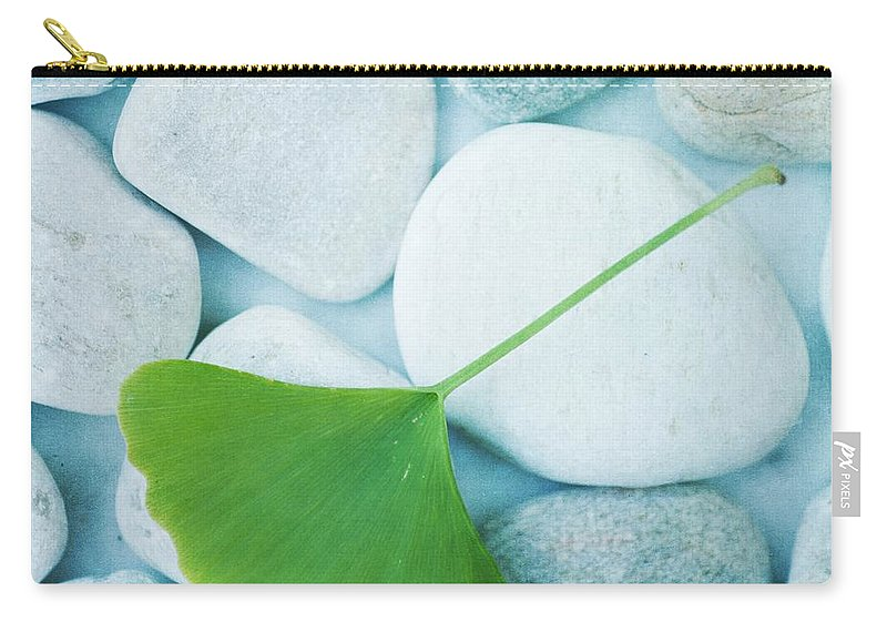 Priska Wettstein Carry-all Pouch featuring the photograph Stones And A Gingko Leaf by Priska Wettstein