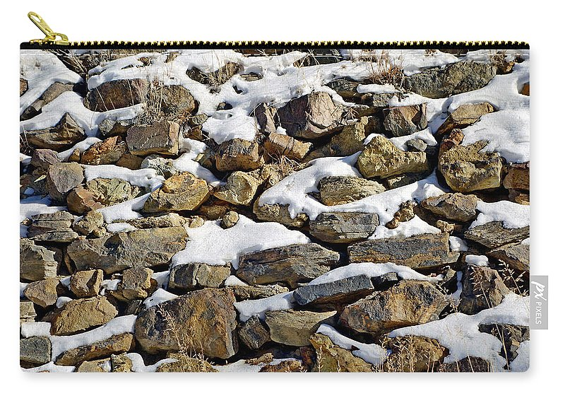 Central City Carry-all Pouch featuring the photograph Stones And Snow by Robert Meyers-Lussier