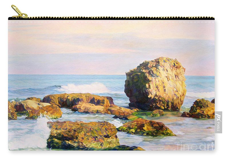 The Sky Carry-all Pouch featuring the painting Stones In The Sea by Maya Bukhina