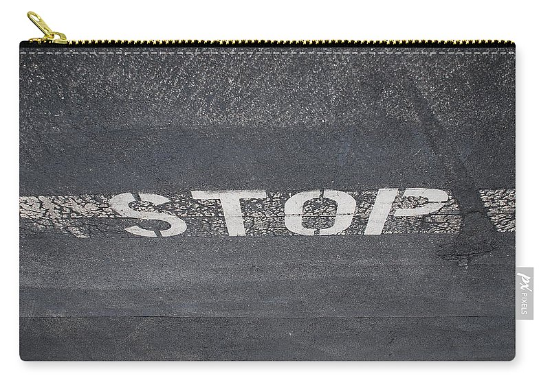 Black And White Carry-all Pouch featuring the photograph Stop by Rob Hans