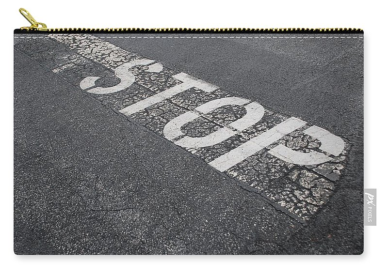 Black And White Carry-all Pouch featuring the photograph Stop Sign by Rob Hans