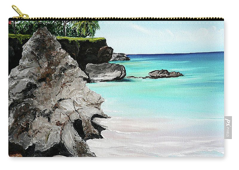 Tropical Beach Painting Carry-all Pouch featuring the painting Store Bay Tobago by Karin Dawn Kelshall- Best