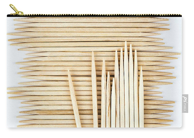Card Carry-all Pouch featuring the photograph Stored Wooden Toothpicks by Jozef Jankola
