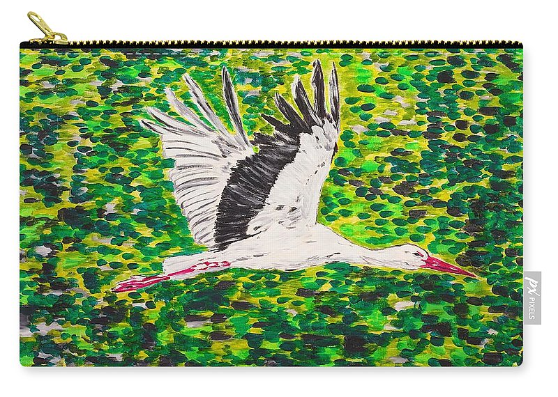 Stork Carry-all Pouch featuring the painting Stork In Flight by Valerie Ornstein