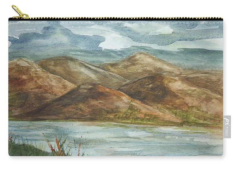 Nature Carry-all Pouch featuring the painting Storm Clouds by Ellen Levinson