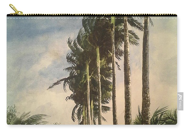 Palm Trees Carry-all Pouch featuring the painting Storm Coming by William Kelsey