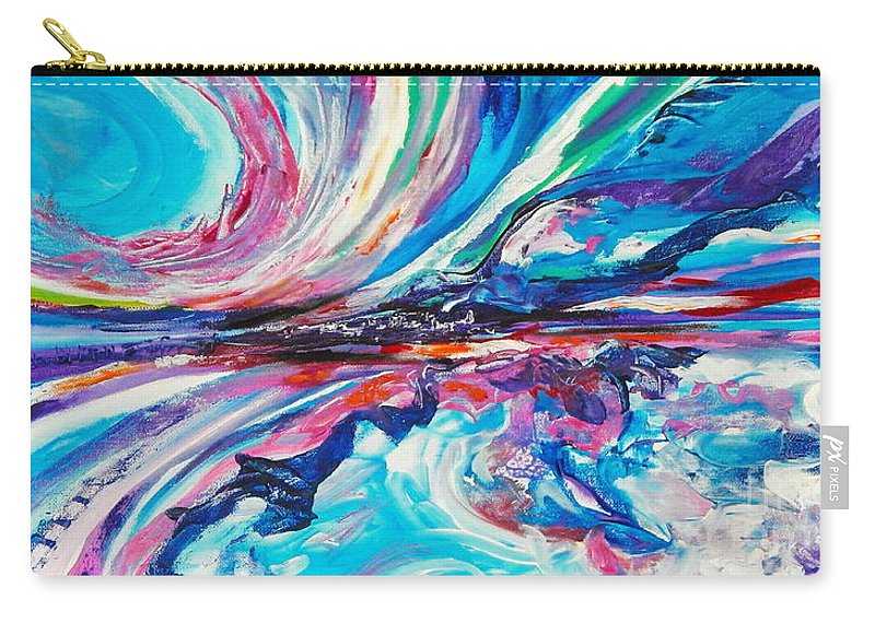 Dramatic Sky And Rough Seas Seem To Be The Theme In This Sweeping Vista Of Colors.blues Dominate .abstract Impressionist Seascape . Carry-all Pouch featuring the painting Storm in the Bay by Priscilla Batzell Expressionist Art Studio Gallery