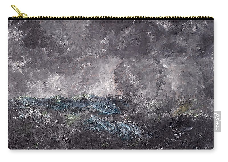 August Strindberg Carry-all Pouch featuring the painting Storm In The Skerries. The Flying Dutchman by August Strindberg