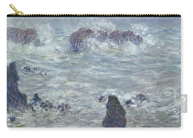 Storm Carry-all Pouch featuring the painting Storm Off The Coast Of Belle Ile by Claude Monet