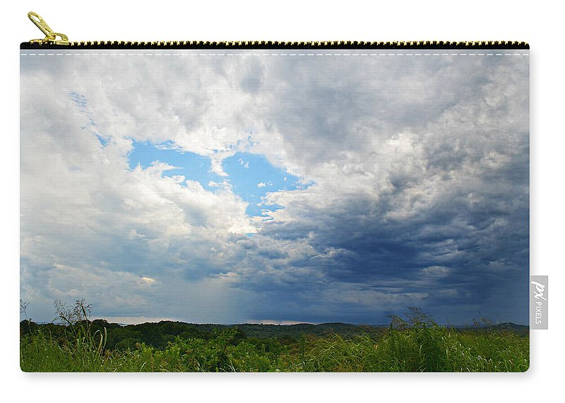 Storm Over Foothills Carry-all Pouch featuring the photograph Storm Over Foothills by Ally White