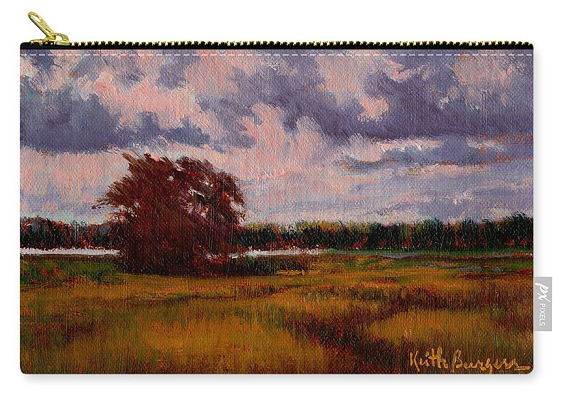 Landscape Carry-all Pouch featuring the painting Storm Over Marshes by Keith Burgess