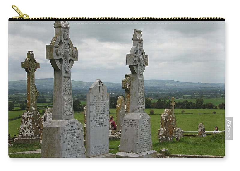 Celtic Cross Carry-all Pouch featuring the photograph Storms Comming by Kelly Mezzapelle