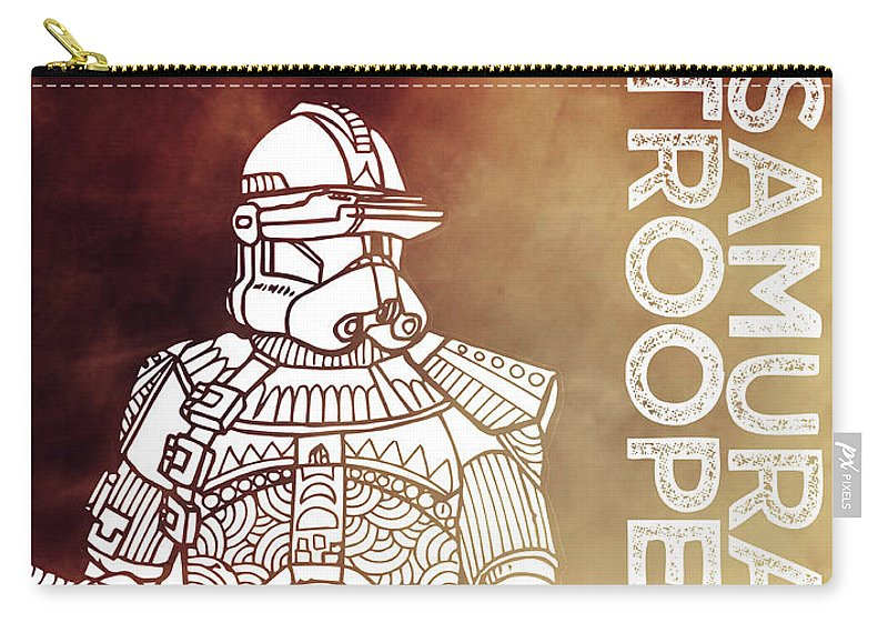 Stormtrooper Carry-all Pouch featuring the mixed media Stormtrooper - Star Wars Art - Brown by Studio Grafiikka