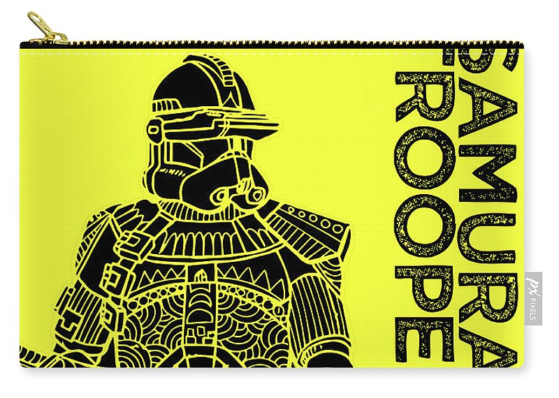Stormtrooper Carry-all Pouch featuring the mixed media Stormtrooper - Yellow - Star Wars Art by Studio Grafiikka