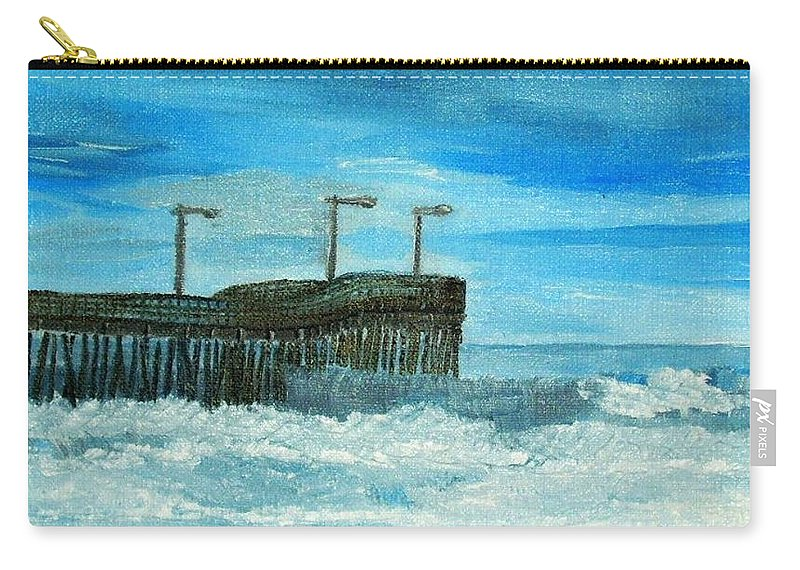 Morro Bay Ca Carry-all Pouch featuring the painting Stormy At Morro Bay by Leslye Miller