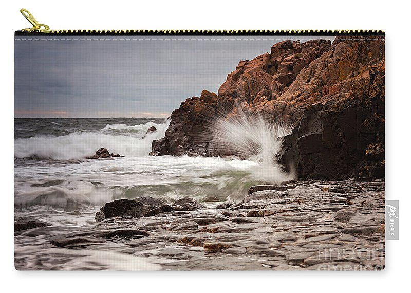 Sunset Carry-all Pouch featuring the photograph Stormy Beach Waves by Sophie McAulay