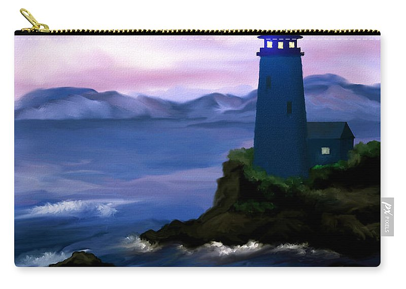 Digital Art Carry-all Pouch featuring the painting Stormy Blue Night by Susan Kinney