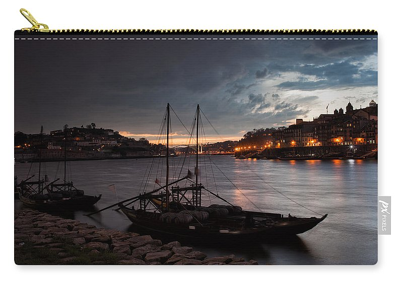 Porto Carry-all Pouch featuring the photograph Stormy Evening Sky Above Porto And Gaia by Artur Bogacki