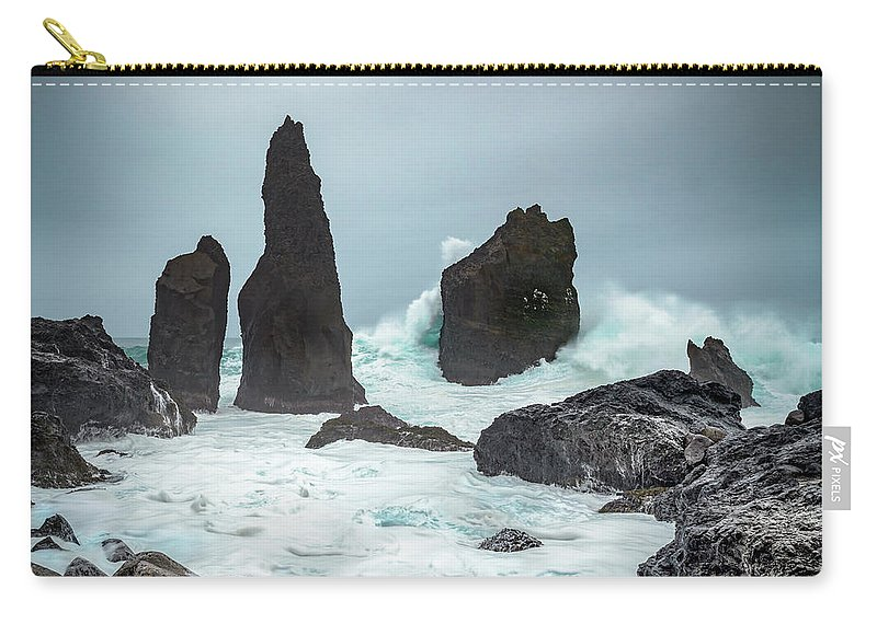 Fulmar Carry-all Pouch featuring the photograph Stormy Iclandic Seas by Andy Astbury