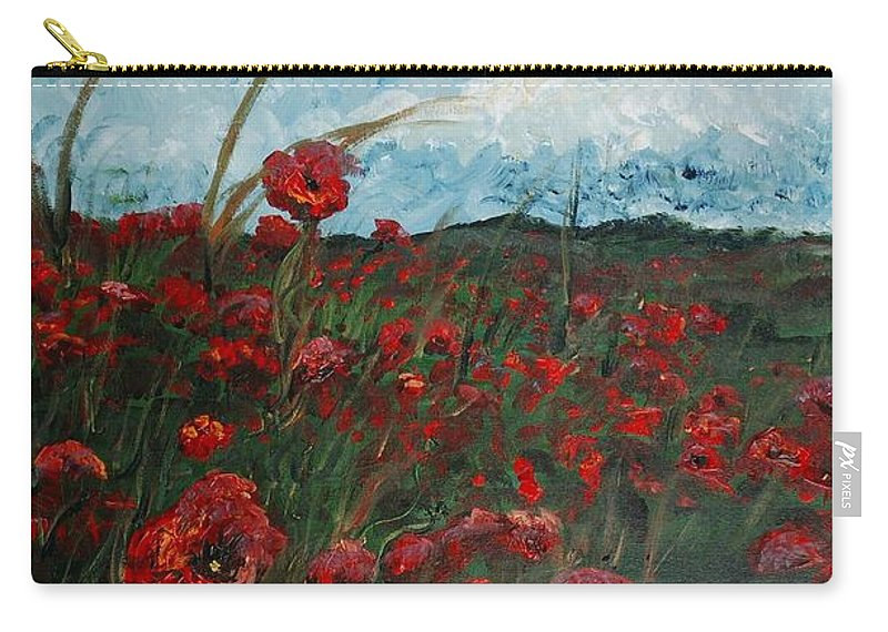 Poppies Carry-all Pouch featuring the painting Stormy Poppies by Nadine Rippelmeyer