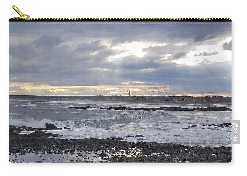 Beach Carry-all Pouch featuring the photograph Stormy Seas And Sky by Julie Houle