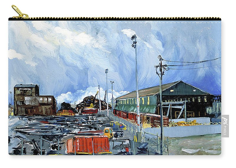 Urban Industrial Landscape Painting Carry-all Pouch featuring the painting Stormy Sky Over Shipyard And Steel Mill by Asha Carolyn Young