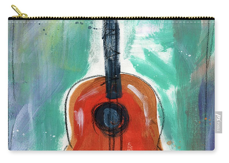 Guitar Carry-all Pouch featuring the painting Storyteller's Guitar by Linda Woods