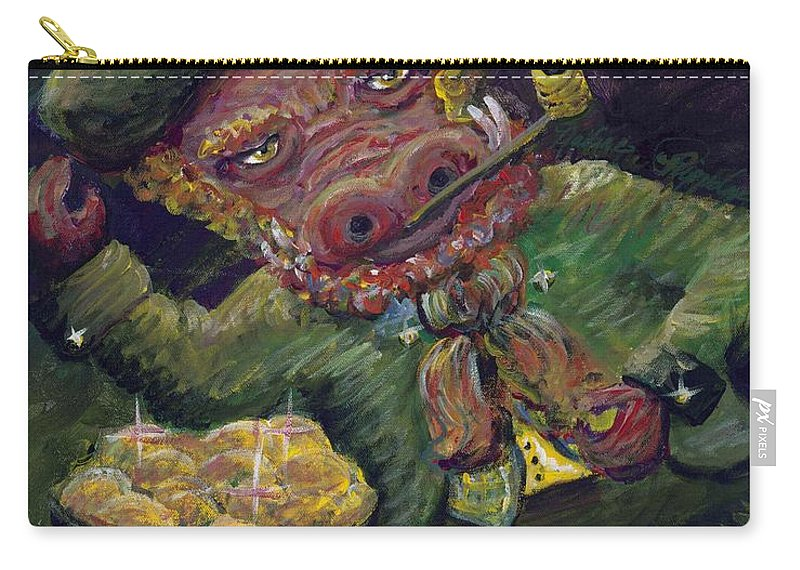 Hog Carry-all Pouch featuring the painting St.patricks Day Pig by Nadine Rippelmeyer