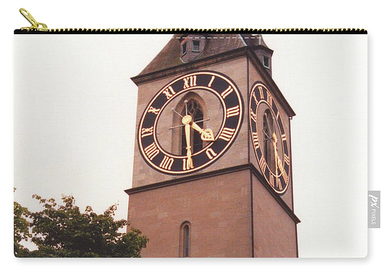 St.peter Carry-all Pouch featuring the photograph St.peter Church Clock In Zurich Switzerland by Susanne Van Hulst