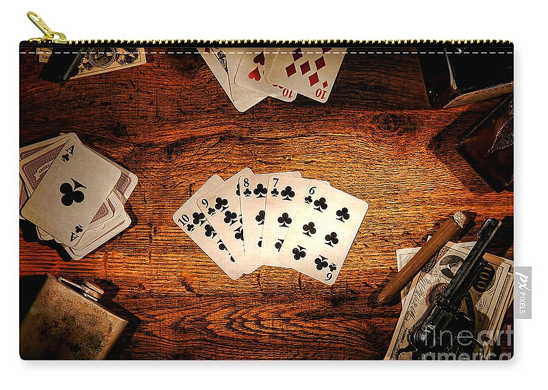 Western Carry-all Pouch featuring the photograph Straight Flush by Olivier Le Queinec